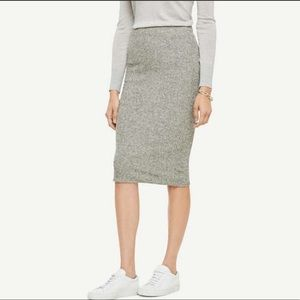 Ann Taylor Ribbed Pencil Sweater Skirt 14 Grey